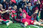Pepe of Portugal Ricardo Quaresma of Portugal Nani of Portugal Cristiano Ronaldo of Portugal during the UEFA EURO 2016 final match between Portugal...
