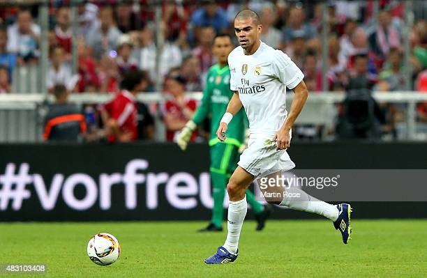 Pepe of Real Madird runs with the ball during the Audi Cup 2015 final match between FC Bayern Muenchen and Real Madrid at Allianz Arena on August 5...