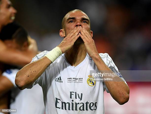Pepe of Real Madrid blows kisses to the fans during the UEFA Champions League Final match between Real Madrid and Club Atletico de Madrid at Stadio...