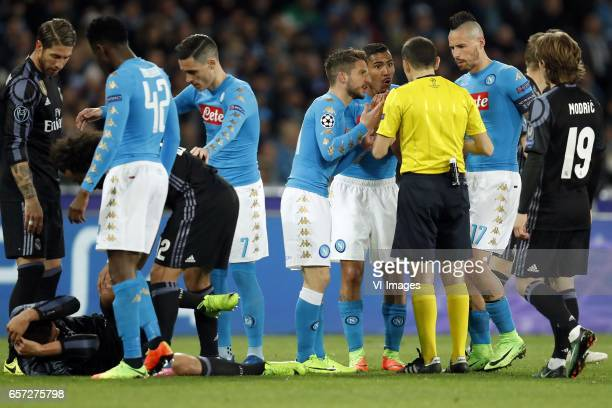 Pepe of Real Madrid Casemiro of Real Madrid Amadou Diawara of SSC Napoli Marcelo of Real Madrid Arkadiusz Milik of SSC Napoli Dries Mertens of SSC...