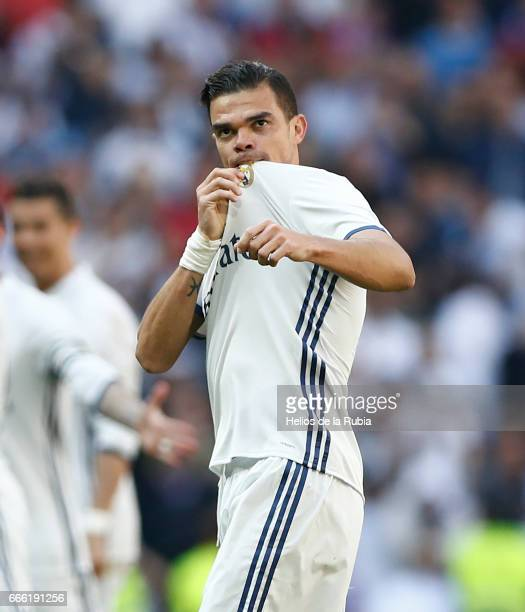 Pepe of Real Madrid celebrates after scoring during the La Liga match between Real Madrid and Atletico de Madrid at Estadio Santiago Bernabeu on...