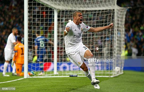 Pepe of Real Madrid celebrates as Cristiano Ronaldo scores their second goal during the UEFA Champions League quarter final second leg match between...