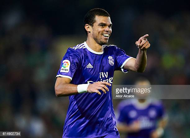 Pepe of Real Madrid CF celebrates after scoring during the match between Real Betis Balompie and Real Madrid CF as part of La Liga at Benito...