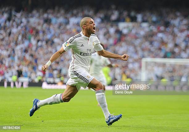 Pepe of Real Madrid CF celebrates after scoring his team's 2nd goal from the penalty spot during the La Liga match between Real Madrid CF and FC...