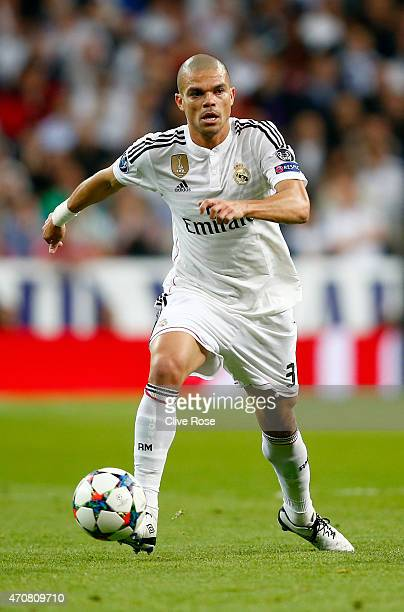 Pepe of Real Madrid CF in action during the UEFA Champions League quarterfinal second leg match between Real Madrid CF and Club Atletico de Madrid at...