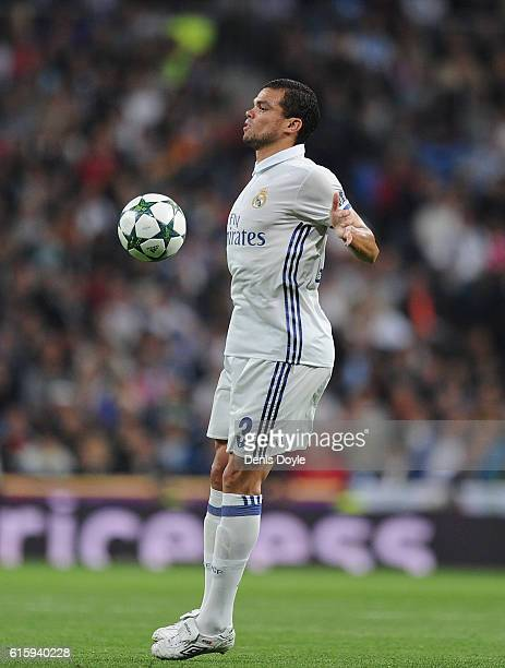 Pepe of Real Madrid CF in action during the UEFA Champions League match between Real Madrid CF and Legia Warszawa at Bernabeu on October 18 2016 in...