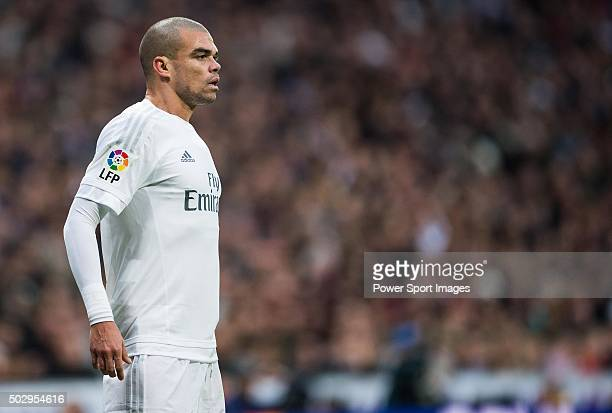 Pepe of Real Madrid CF looks onduring the Real Madrid CF vs Real Sociedad as part of the Liga BBVA 20152016 at Estadio Santiago Bernabeu on December...