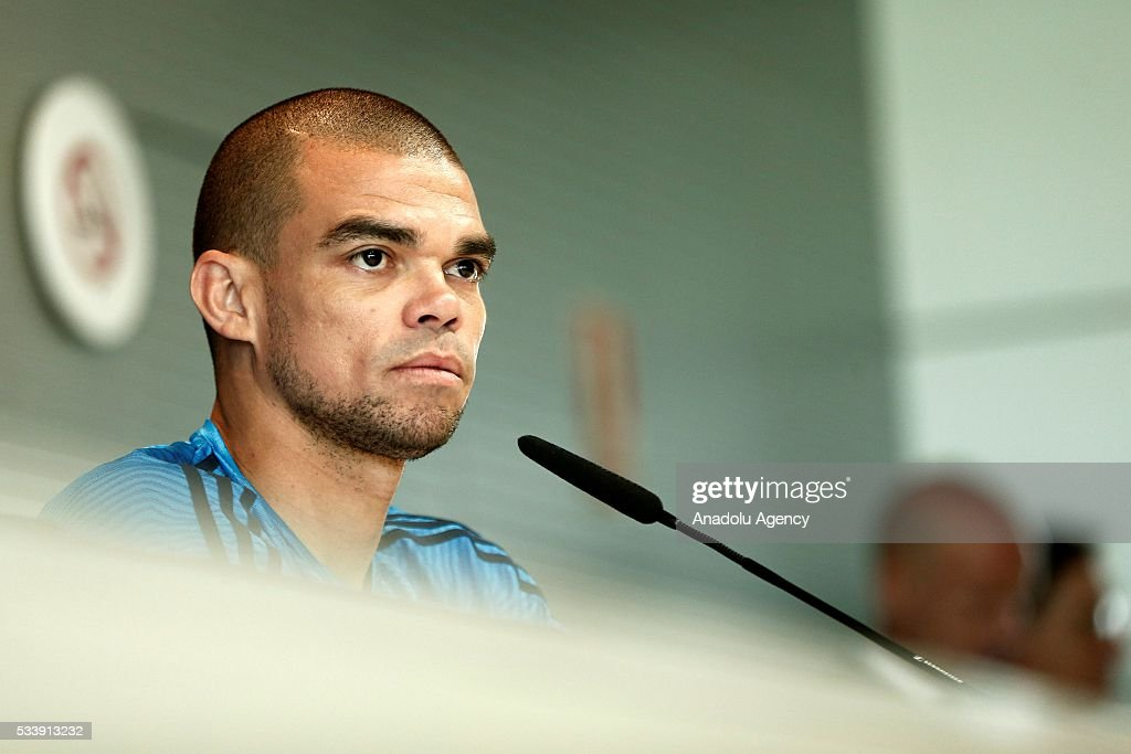 Pepe of Real Madrid delivers a speech during a press conference ahead of UEFA Champions League final football match between Atletico Madrid and Real Madrid CF in Madrid, Spain on May 24, 2016.