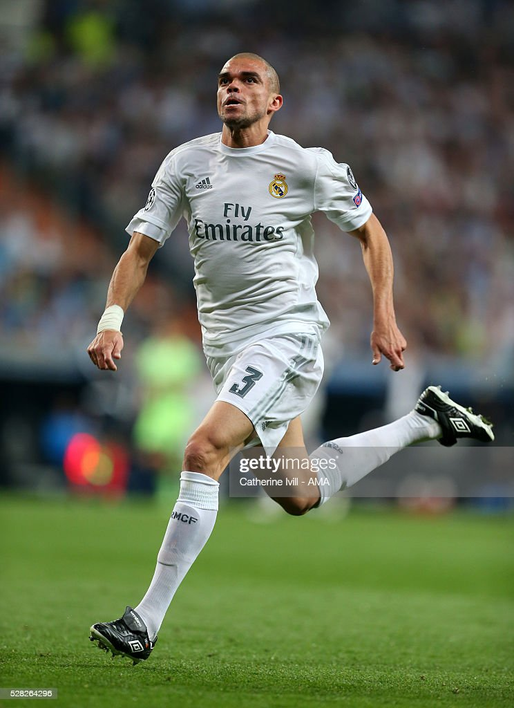 Pepe of Real Madrid during the UEFA Champions League Semi Final second leg match between Real Madrid and Manchester City FC at Estadio Santiago Bernabeu on May 4, 2016 in Madrid, Spain.