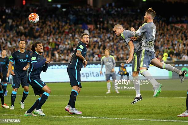 Pepe of Real Madrid heads a goal during the International Champions Cup match between Real Madrid and Manchester City at Melbourne Cricket Ground on...
