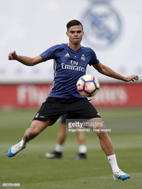 Pepe of Real Madrid in action during a training session at Valdebebas training ground on May 13 2017 in Madrid Spain