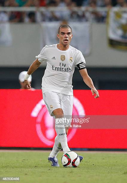 Pepe of Real Madrid in action during the International Champions Cup China match between Real Madrid and AC Milan at the Shanghai Stadium on July 30...