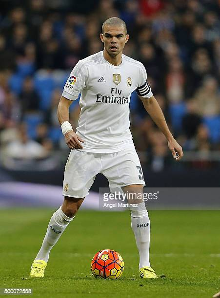 Pepe of Real Madrid in action during the La Liga match between Real Madrid CF and Getafe CF at Estadio Santiago Bernabeu on December 5 2015 in Madrid...