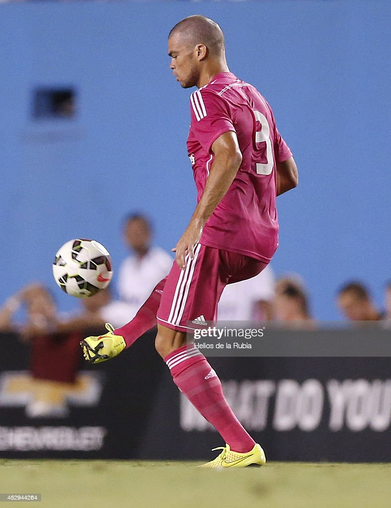Pepe of Real Madrid in actions during the pre-season between Real Madrid and Roma at Guinness International Champions Cup 2014 game at Cotton Bowl on July 29, 2014 in Dallas, Texas.