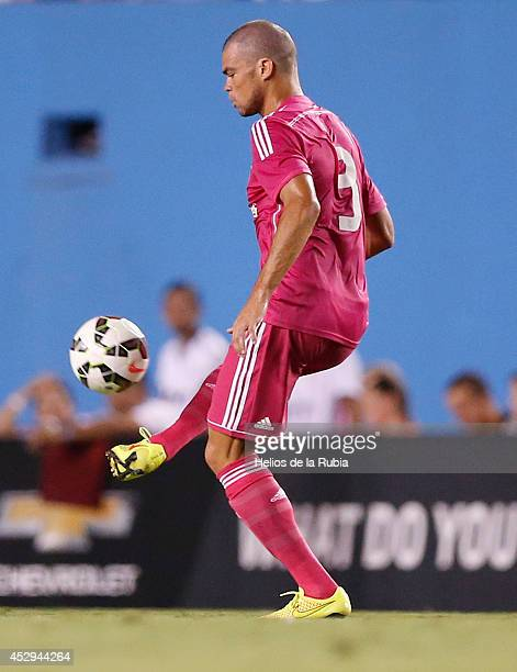 Pepe of Real Madrid in actions during the preseason between Real Madrid and Roma at Guinness International Champions Cup 2014 game at Cotton Bowl on...
