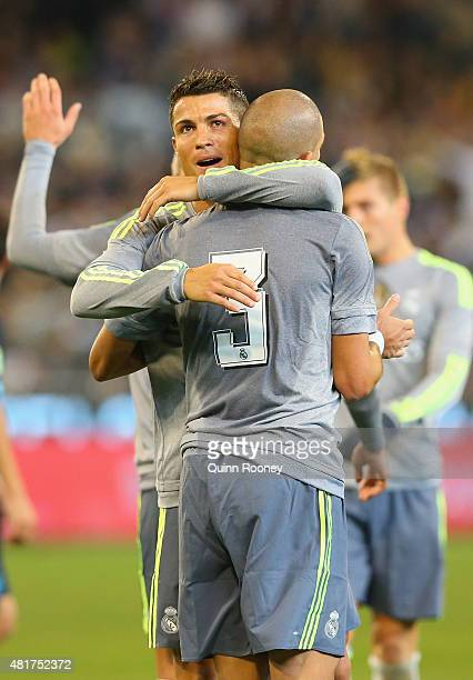 Pepe of Real Madrid is congratulated by Cristiano Ronaldo after scoring a goal during the International Champions Cup match between Real Madrid and...