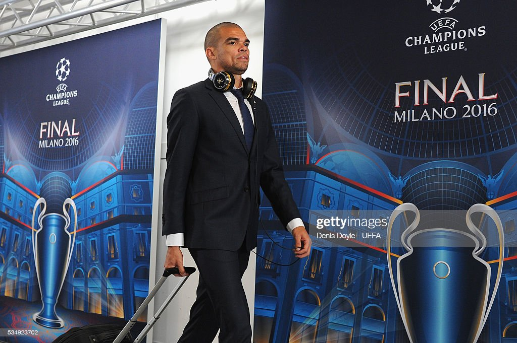 Pepe of Real Madrid is seen on arrival at the stadium prior to the UEFA Champions League Final between Real Madrid and Club Atletico de Madrid at Stadio Giuseppe Meazza on May 28, 2016 in Milan, Italy.