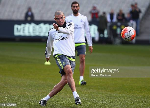 Pepe of Real Madrid kicks the ball during a Real Madrid training session at Melbourne Cricket Ground on July 17 2015 in Melbourne Australia
