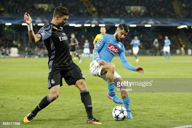Pepe of Real Madrid Lorenzo Insigne of SSC Napoliduring the UEFA Champions League round of 16 match between SSC Napoli and Real Madrid on March 07...