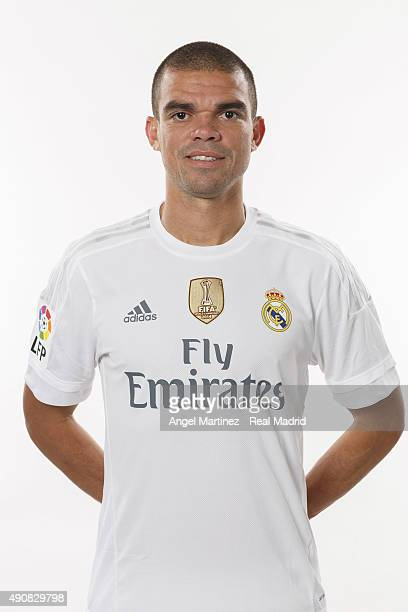 Pepe of Real Madrid poses during the official portrait photocall at Valdebebas training ground on September 28 2015 in Madrid Spain