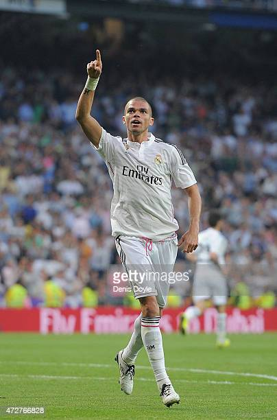 Pepe of Real Madrid reacts after scoring Real's opening goal during the La Liga match between Real Madrid CF and Valencia CF at Estadio Santiago...