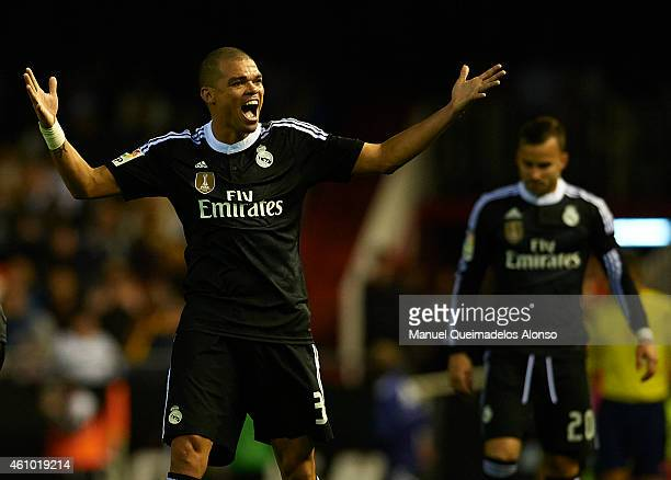 Pepe of Real Madrid reacts during the La Liga match between Valencia CF and Real Madrid CF at Estadi de Mestalla on January 4 2015 in Valencia Spain