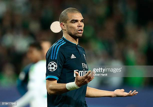 Pepe of Real Madrid reacts during the UEFA Champions League Quarter Final First Leg match between VfL Wolfsburg and Real Madrid at Volkswagen Arena...