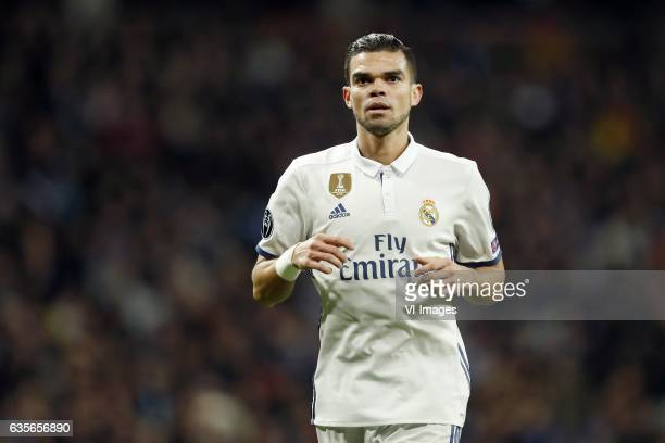 Pepe of Real Madridduring the UEFA Champions League round of 16 match between Real Madrid and SSC Napoli on February 14 2017 at the Santiago Bernabeu...