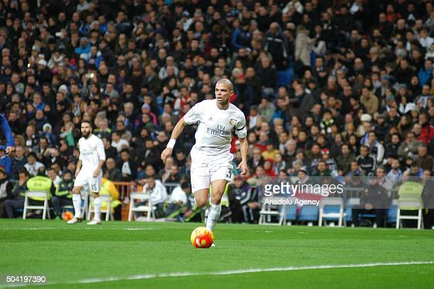 Pepe of the Real Madrid is in action during the La Liga match between Real Madrid CF and Deportivo at Estadio Santiago Bernabeu on January 09 2016 in...