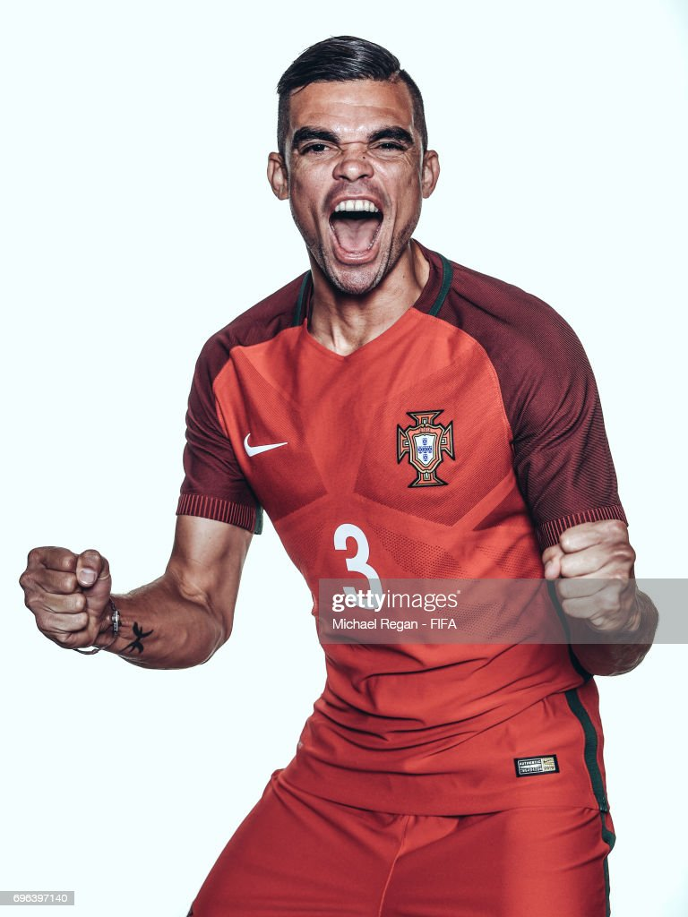 Pepe poses for a picture during the Portugal team portrait session on June 15, 2017 in Kazan, Russia.