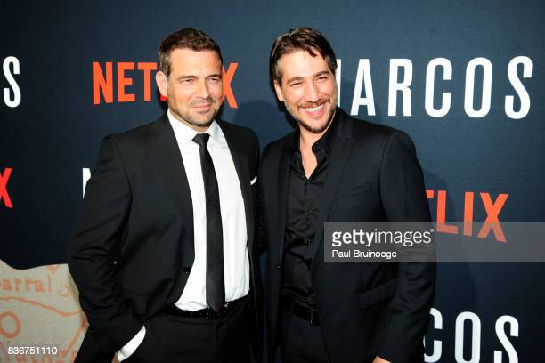 Pepe Rapazote and Alberto Ammann attend 'Narcos' Season 3 New York Screening Arrivals at AMC Lincoln Square 13 Theater on August 21 2017 in New York...