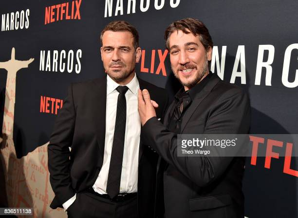 Pepe Rapazote and Alberto Ammann attend the 'Narcos' Season 3 New York Screening at AMC Loews Lincoln Square 13 theater on August 21 2017 in New York...