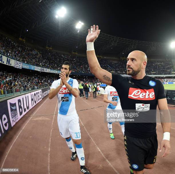 Pepe Reina and Raul Albiol players of SSC Napoli celebrate the victory after the Serie A match between SSC Napoli and ACF Fiorentina at Stadio San...