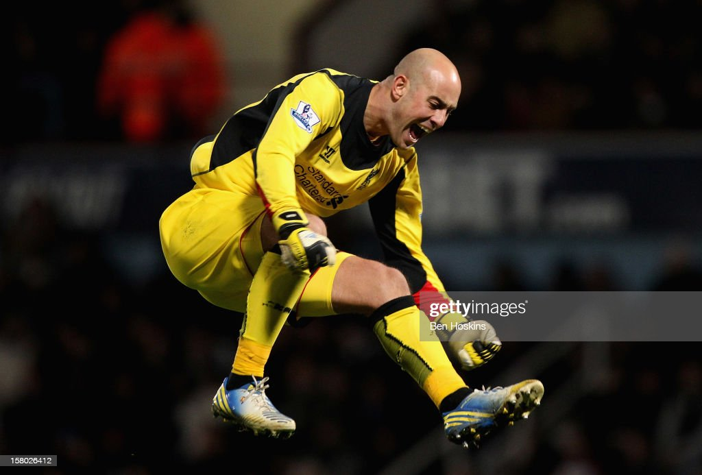 Pepe Reina of Liverpool celebrates his teams third goal during the Barclays Premier League match between West Ham United and Liverpool at the Boleyn Ground on December 9, 2012 in London, England.