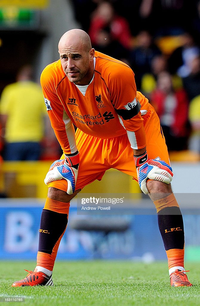 Pepe Reina of Liverpool during the Barclays Premier League match between Norwich City and Liverpool at Carrow Road on September 29, 2012 in Norwich, England.