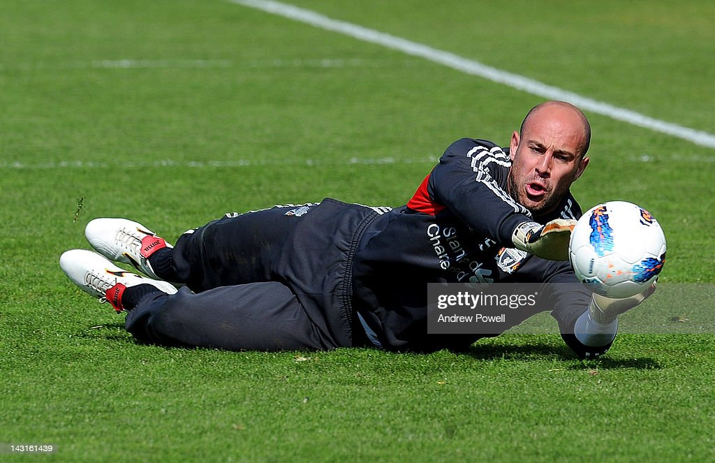 Pepe Reina of Liverpool in action during a training session at Melwood Training Ground on April 20, 2012 in Liverpool, England.