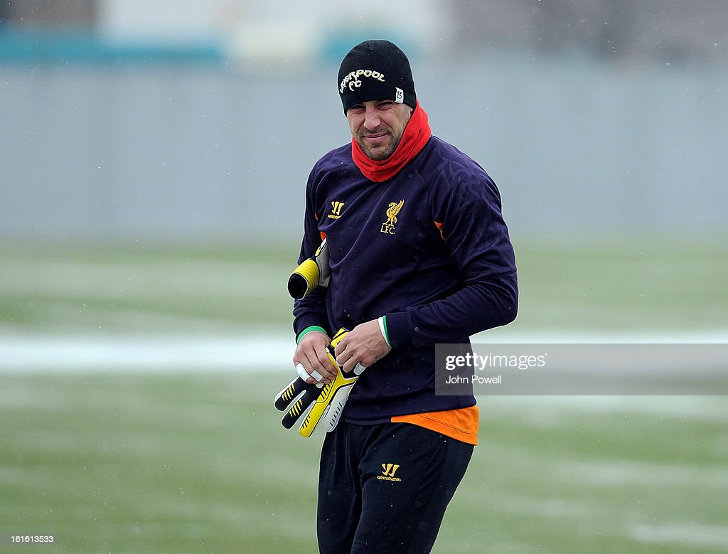 Pepe Reina of Liverpool in action during a training session at Melwood Training Ground on February 13, 2013 in Liverpool, England.