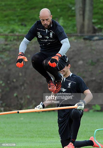 Pepe Reina of Liverpool in action during a training session at Harvard Univarsity on July 24 2014 in Cambridge Massachusetts