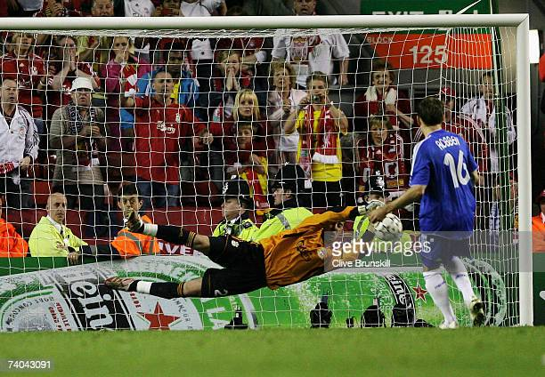 Pepe Reina of Liverpool saves the penalty from Arjen Robben of Chelsea during the UEFA Champions League semi final second leg match between Liverpool...