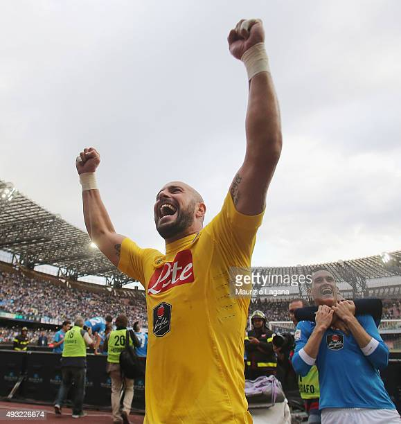 Pepe Reina of Napoli celebrates after the Serie A match between SSC Napoli and ACF Fiorentina at Stadio San Paolo on October 18 2015 in Naples Italy