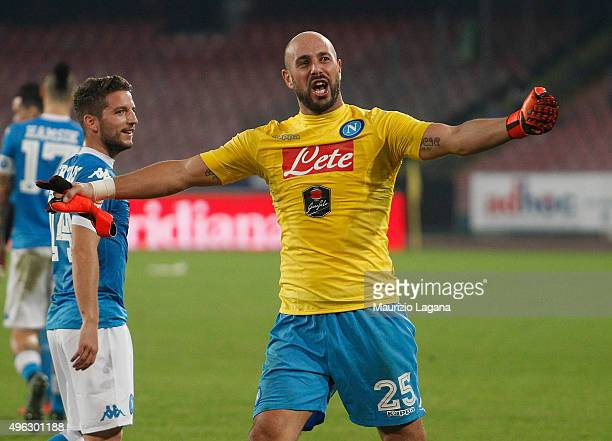 Pepe Reina of Napoli celebrates after the Serie A match between SSC Napoli and Udinese Calcio at Stadio San Paolo on November 8 2015 in Naples Italy