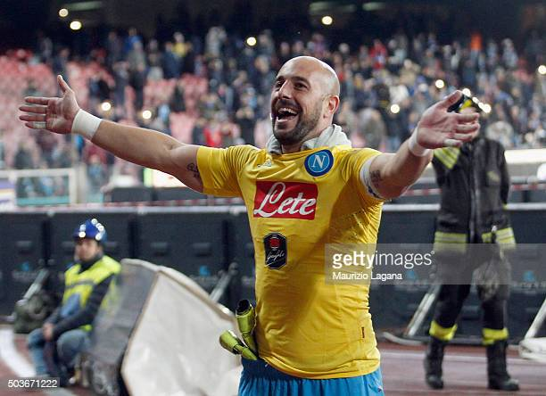 Pepe Reina of Napoli celebrates after the Serie A match between SSC Napoli and Torino FC at Stadio San Paolo on January 6 2016 in Naples Italy