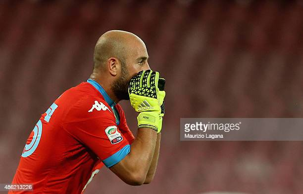 Pepe Reina of Napoli during the Serie A match between SSC Napoli and UC Sampdoria at Stadio San Paolo on August 30 2015 in Naples Italy