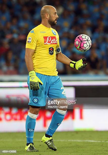Pepe Reina of Napoli during the Serie A match between SSC Napoli and SS Lazio at Stadio San Paolo on September 20 2015 in Naples Italy