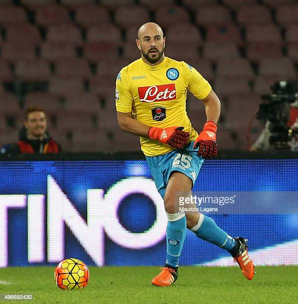 Pepe Reina of Napoli during the Serie A match between SSC Napoli and Udinese Calcio at Stadio San Paolo on November 8 2015 in Naples Italy