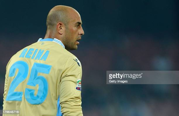 Pepe Reina of Napoli in action during the Serie A match between SSC Napoli and Bologna Calcio at Stadio San Paolo on August 25 2013 in Naples Italy