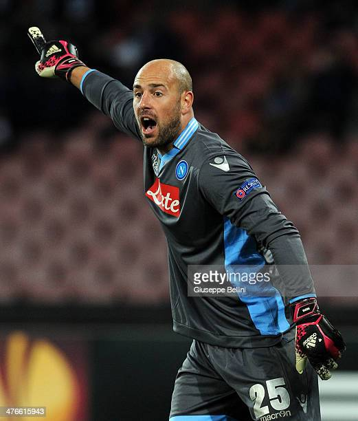 Pepe Reina of Napoli in action during the UEFA Europa League Round of 32 match between SSC Napoli and Swansea City at Stadio San Paolo on February 27...