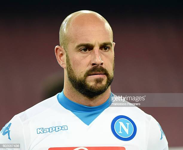 Pepe Reina of Napoli in action the TIM Cup match between SSC Napoli and Hellas Verona FC at Stadio San Paolo on December 16 2015 in Naples Italy
