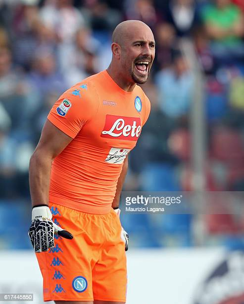 Pepe Reina of Napoli reacts during the Serie A match between FC Crotone and SSC Napoli at Stadio Comunale Ezio Scida on October 23 2016 in Crotone...