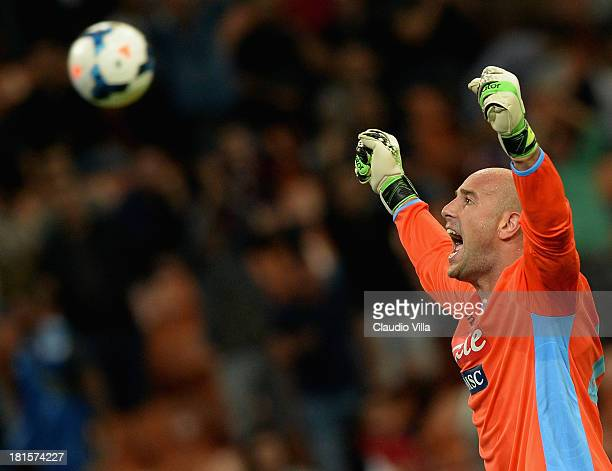 Pepe Reina of SSC Napoli celebrates victory at the end of the Serie A match between AC Milan and SSC Napoli at San Siro Stadium on September 22 2013...